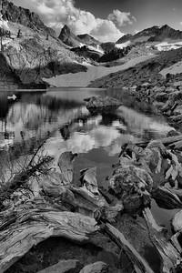 Thompson Peak looms above upper Goat Creek and Goat Lake.