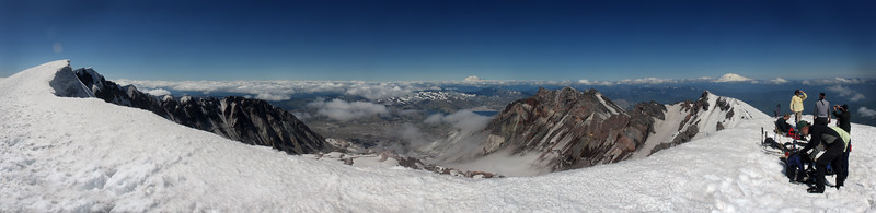 July 3, 2011, hike and ski on Mt. St. Helens. Looking north to Mt. Rainier (straight ahead) and east toward Mt. Adams (to the right).