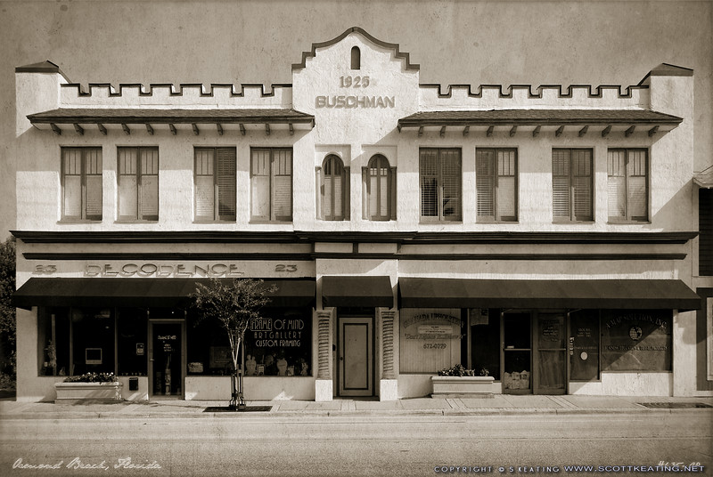"""Historic 1925 Buschman Building in Ormond Beach, Florida -- Vintage-Look Suitable Sizes: 4x6, 8x12, 12x18, 16x24, puzzles, and specialty items  Please specify """"true color"""" when ordering <i>Note: Vintage lettering along bottom of image remains in prints</i>"""