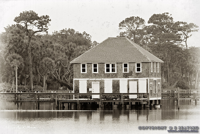 "Ormond Yacht Club (c.1910) - Ormond Beach, FL -- Vintage-Look Suitable Sizes: 4x6, 8x12, 12x18, 16x24,  puzzles, and specialty items  Please specify ""true color"" when ordering <i>Note: Vintage lettering along bottom of image remains in prints</i>"