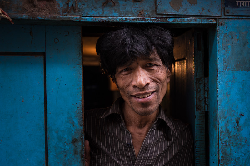 at the blue door<br /> (Kathmandu, Nepal)