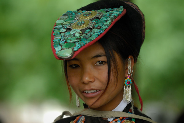 Girl at the Ladakh festival in Leh (Ladakh, Jammu and Kashmir, India)