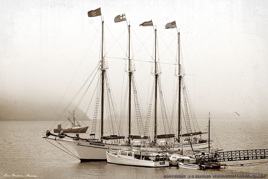 "Vintage-Look Schooner, Bar Harbor Maine<br /> Suitable Sizes: 4x6, 8x12, 12x18, 16x24, 20x30, 30x40 (with cropping), puzzles, and specialty items<br /> Note: Vintage lettering along bottom of image remains in prints<br /> <br /> Please specify ""true color"" when ordering"