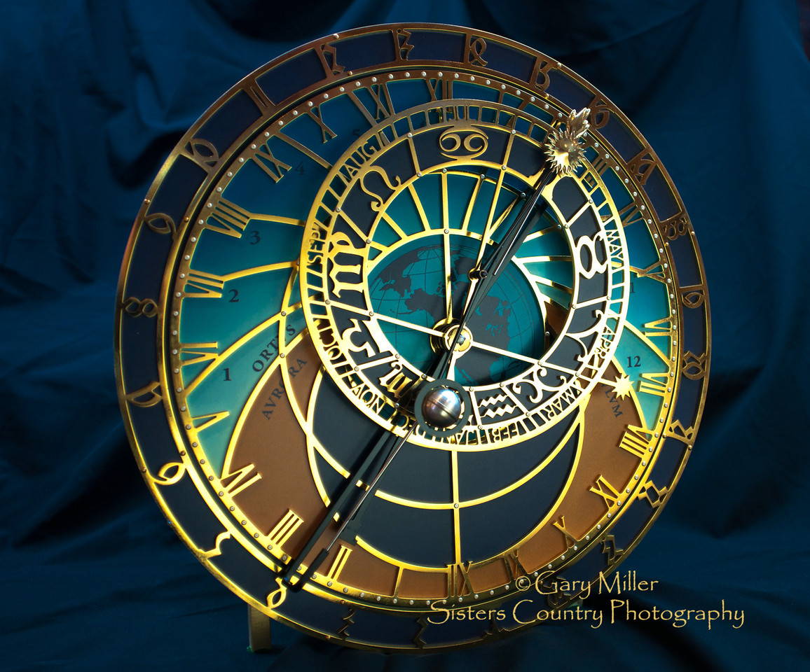 The Orloj Clock - Custom minaturization by Ed Beacham of the famous clock from the 1400's on the tower of City Hall in Prague - Photo by Gary N. Miller - Sisters Country Photography