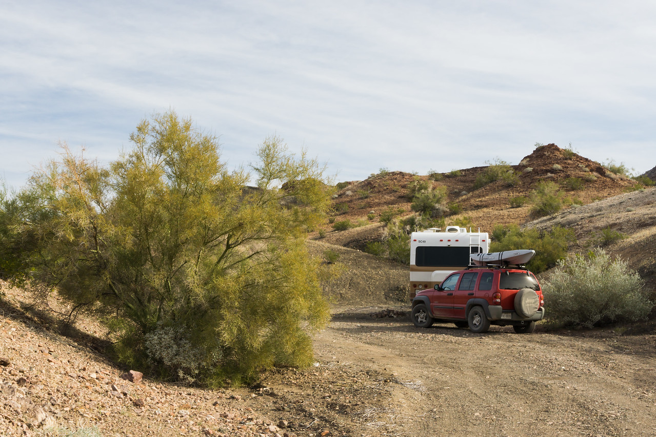 A free, dispersed campsite. Taken at Craggy Wash BLM, Arizona, USA.