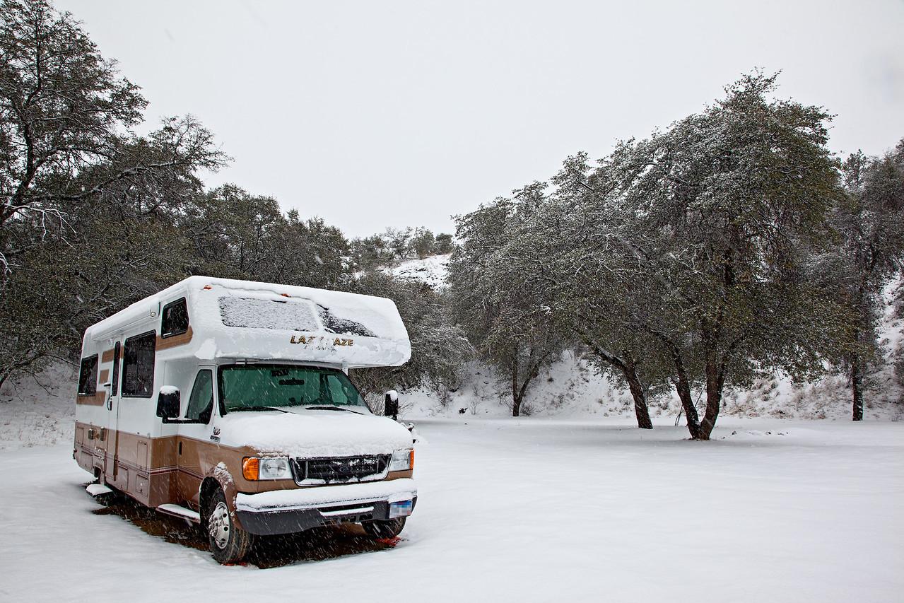 A dispersed campsite in the Coronado National Forest, near Patagonia, Arizona, USA.