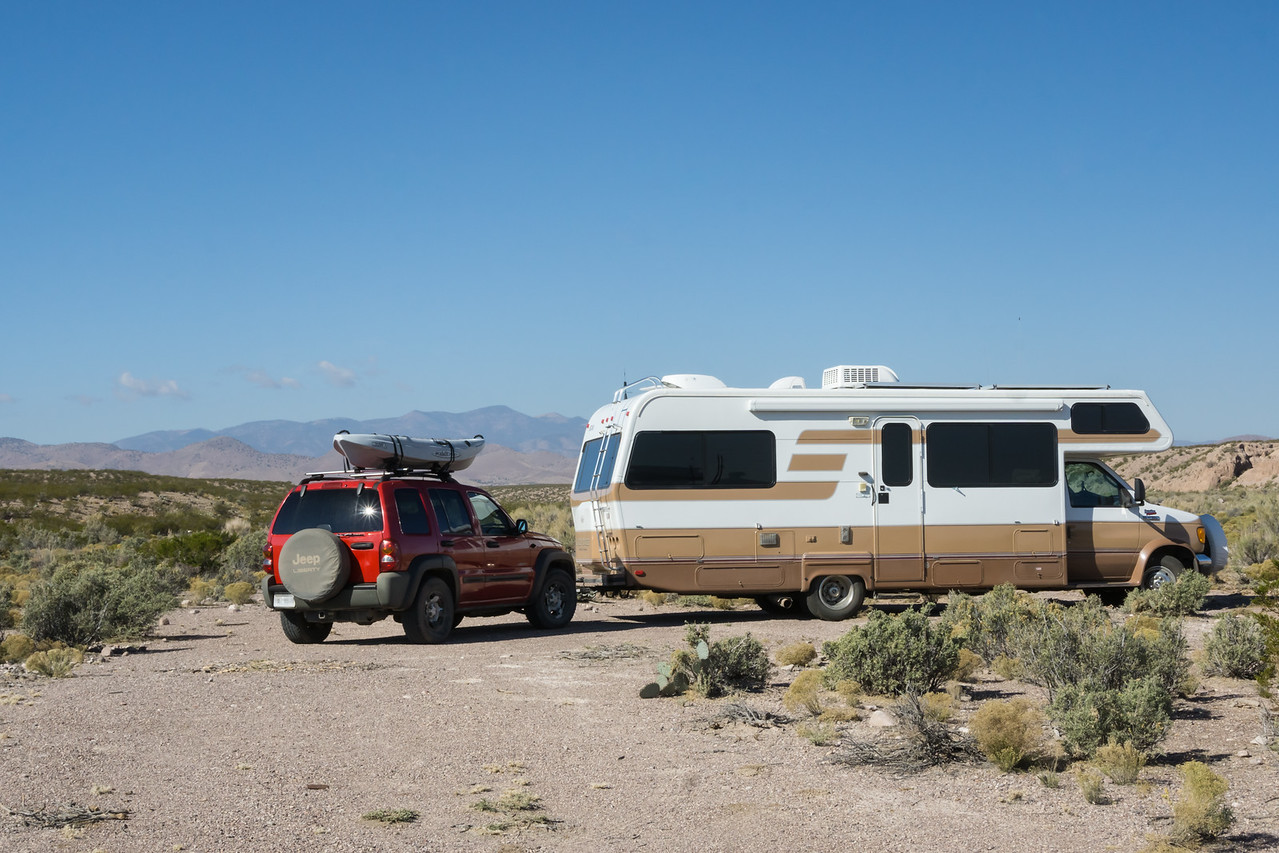 A free, dispersed campsite on BLM land near San Antonio, New Mexico, USA.
