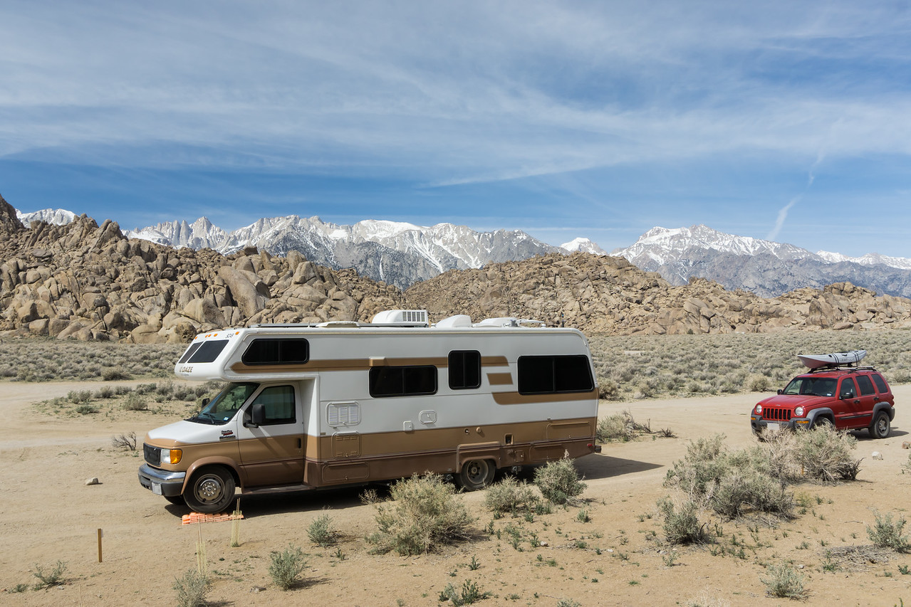My free, dispersed campsite. Mt. Whitney, the highest peak in the Lower 48, is in the background, at 14,505 feet .Taken in the Alabama Hills, a BLM area in California, USA.