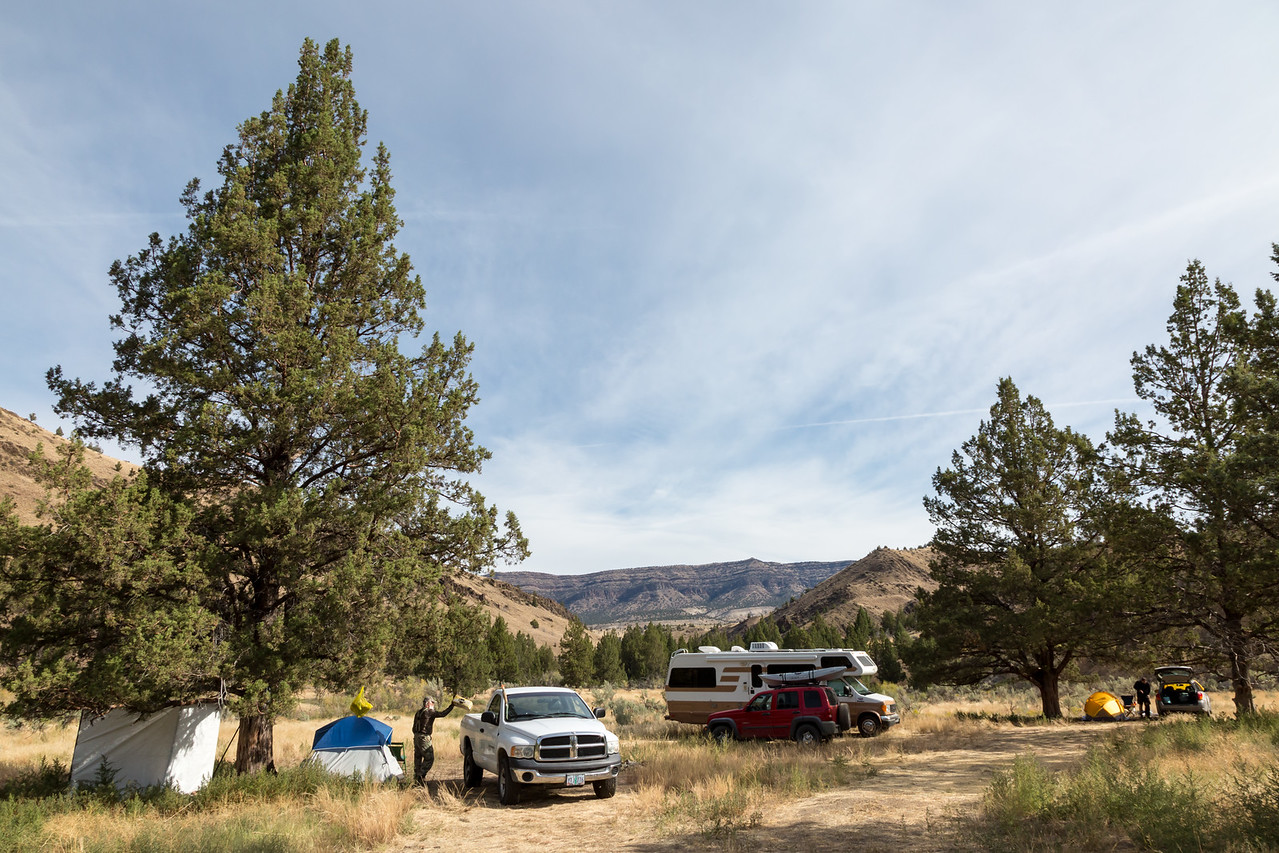A dispersed campsite on BLM (Bureau of Land Management) land. Taken in Wheeler County, Oregon, USA.