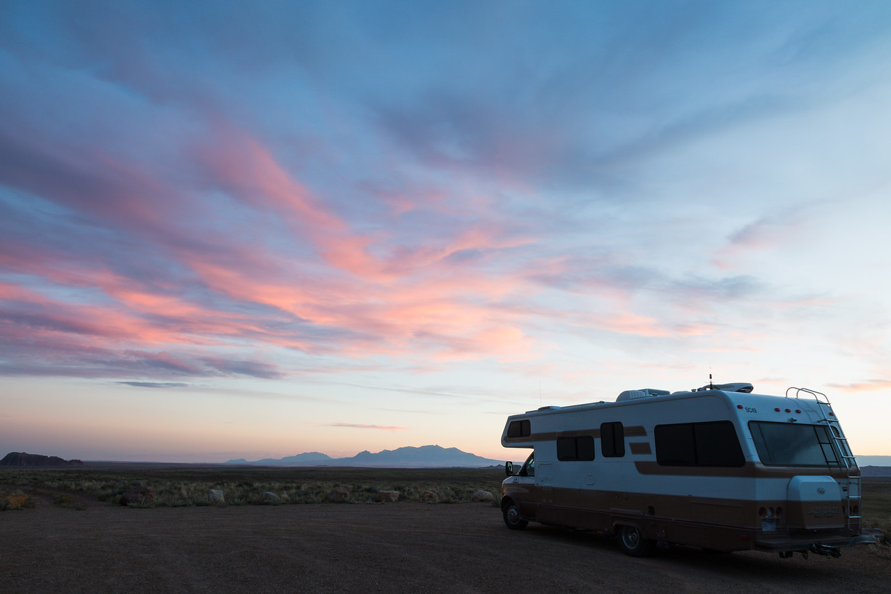 Sunset at a dispersed campsite near Goblin Valley State Park, Utah, USA.