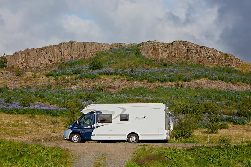 """Icelandic Camping""<br /> <br /> Our rental RV, near our campsite at Varmaland. The purple flowers are Alaskan lupine (Lupinus nootkatensis). Taken near Varmaland, Borgarfjörður, West Iceland."