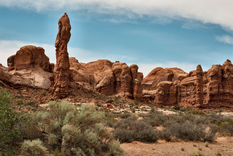 Arches National Park, a place of amazing rock formations, arches and other natural wonders. This is one of the first of many scenes one sees when driving into the park.