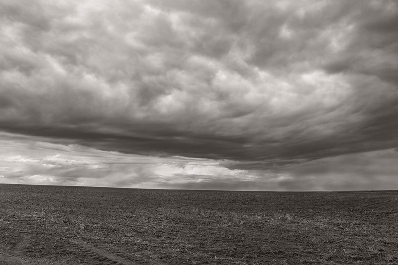 Storm clouds over last winters wheat fields, Eastern Washington
