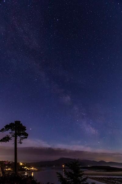 Netarts and estuary under Milky Way, 3:30am, Oregon