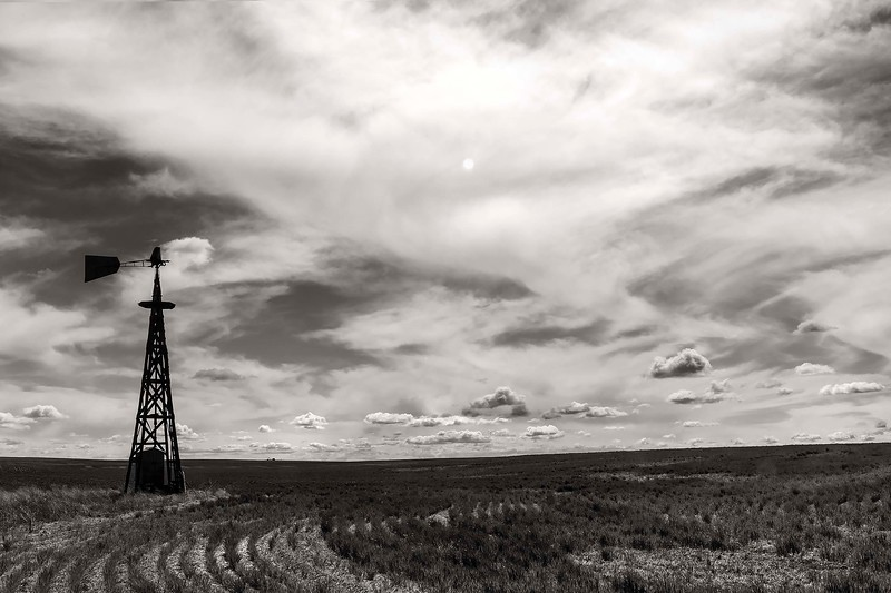 Very old windmill and wheat fields, Eastern Washington