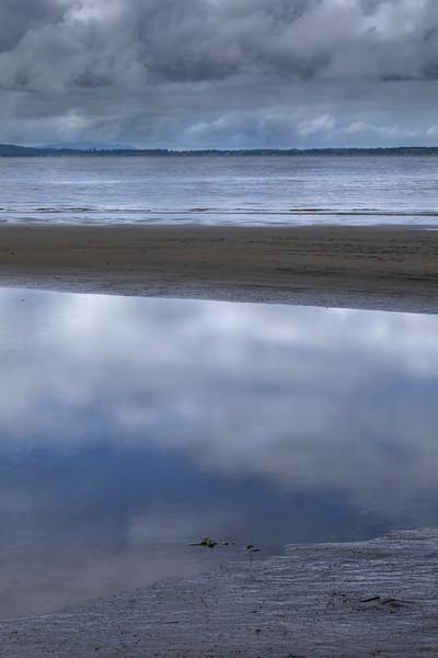 Morning low clouds, Columbia River near Illwaco, Washington