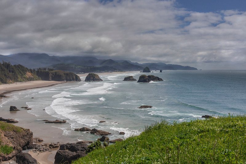 Looking south from Ecola State park; Crescent Beach and Cannon Beach in distance