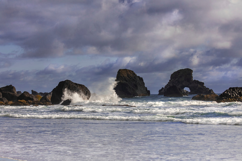 Wave action on the rocks, Indian Beach, Ecola State Park, Oregon