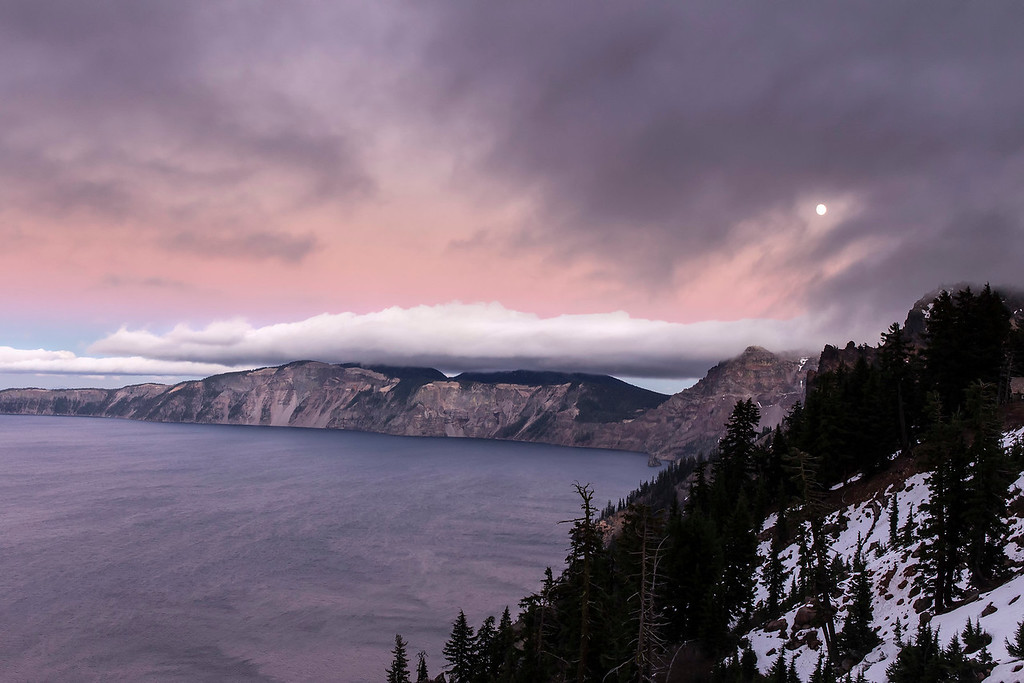 Dusk, moon and storm clouds, Crater Lake National Park, Oregon