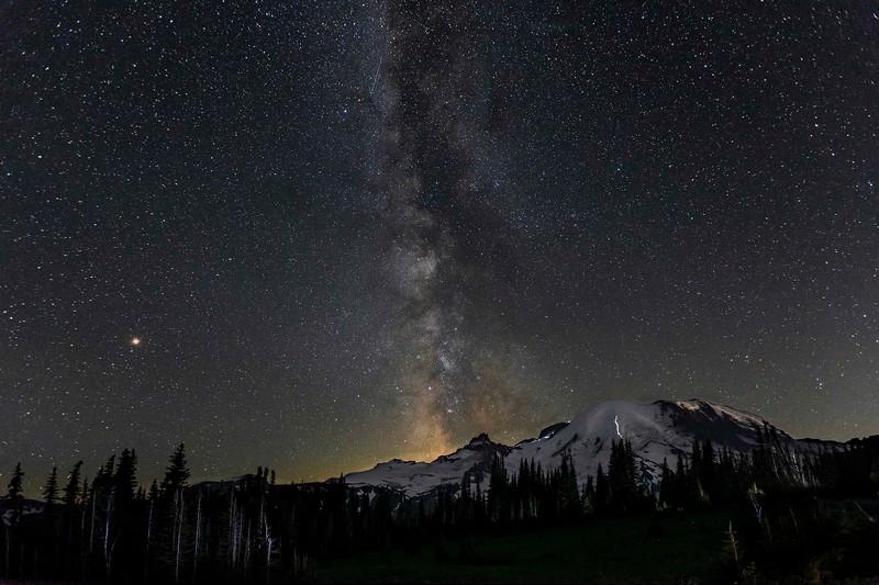 Milky Way with Mars over Mt Rainier