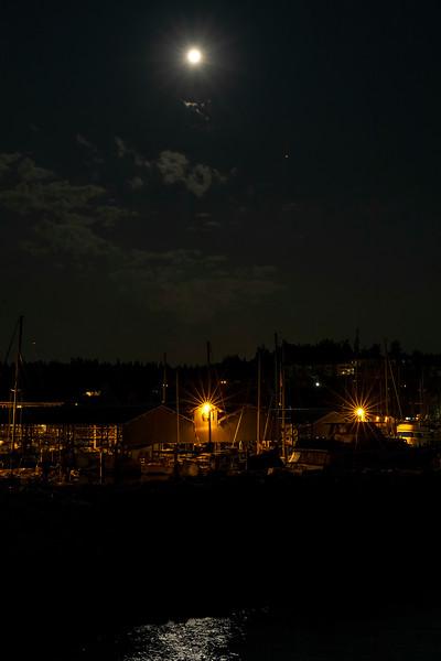 Moon and Mars over Edmonds Marina