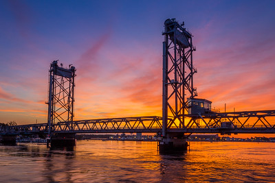 Sunrise at the Memorial Bridge Portsmouth, NH