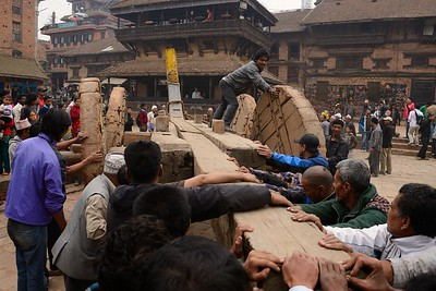 Building Bhairab chariot in preparation of Bisket Jatra: the base of the chariot is assembled near Nyatapola temple, then is moved near a platform in front of Bhairabnath temple