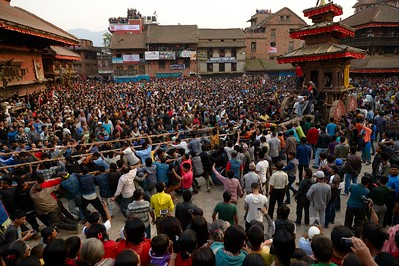 First day of Bisket Jatra: men from the two part of town contesting Bhairab's chariot in Taumadhi tole