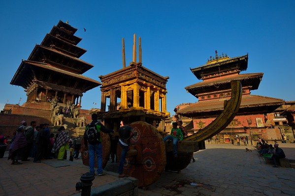 Bhairab chariot being, assembled in preparation of Bisket Jatra, seen between Nyatapola temple (left) and Bhairabnath temple (right)