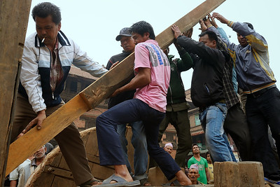 Building Bhairab chariot in preparation of Bisket Jatra