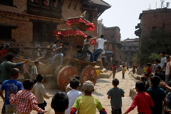 First day of Bisket Jatra: children pulling Bhadrakali's chariot