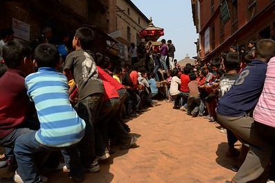 First day of Bisket Jatra: children pulling Bhadrakali's chariot