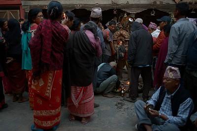 Devotees waiting to worship Bhairab's effige