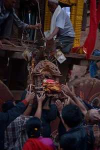 Early in the morning of the second day of Bisket Jatra, Bhairab's effige is unloaded from the chariot and taken to a small temporary temple
