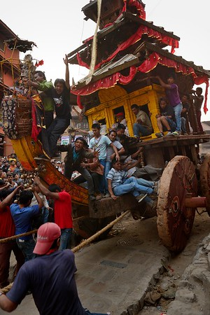 Bhairab's chariot being transfered to Yoshin Khel in the evening of the last day of the newari calendar