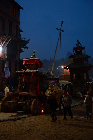 Bhadrakali's and Bhairab's chariots with the new year pole in the background
