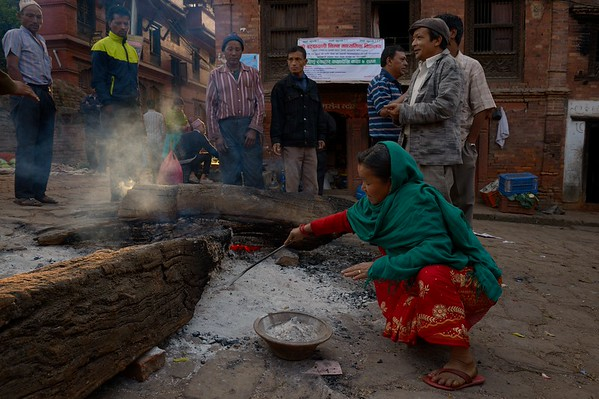 In the morning of the last day of the festival, devotees collect ashes from the holy fire in gahiti tole. These ashes are believed to protect the house from evil forces