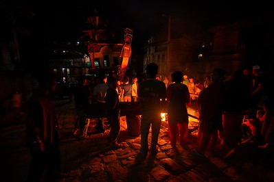 broken pieces of Bhairab chariot are traditionally burned in front of the chariot on the last night of the festival
