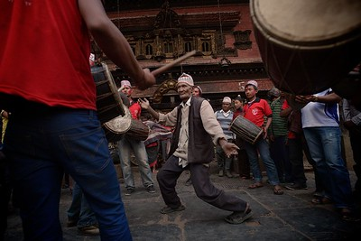 dancing in front of Bhairabnath temple