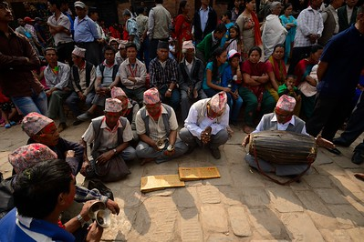 elders singing holy hymns in Taumadhi tole