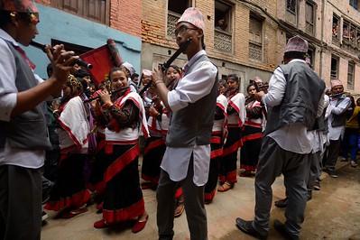 one of the many musical groups rambling thru Bhaktapur during Deo Sogan Biyegu