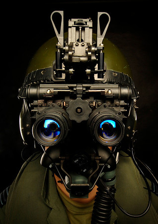 Date: 29th April 2007  Caption:  Harrier pilot with IV(AC) Squadron, part of the Joint Force Harrier based at Royal Air Force Cottesmore, wearing night vision goggles (NVG)  MOD CROWN COPYRIGHT Image taken by Heidi Burton, MOD Crown Copyright
