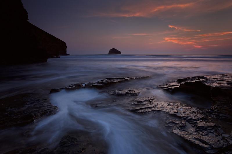 Trebarwith Strand at sunset, Cornwall