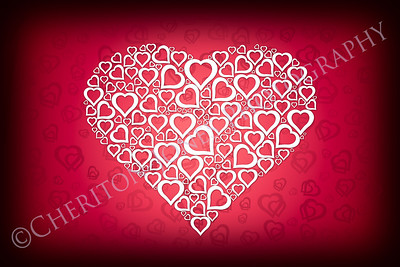 White Heart Design on Red Valentine Background
