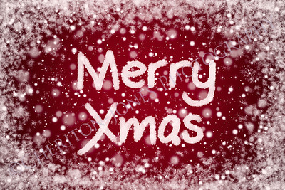 Merry Xmas Text on Christ Red Snow Background