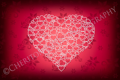 White Heart Design on Red Flower Background