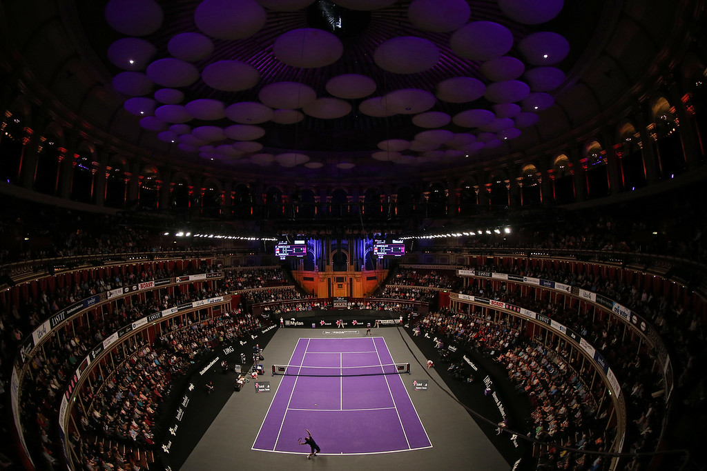A general view of the ATP Champions Tour Final match between Fernando Gonzalez of Chile and Andy Roddick of the USA during day five of the Statoil Masters Tennis at the Royal Albert Hall on December 7, 2014 in London, England.