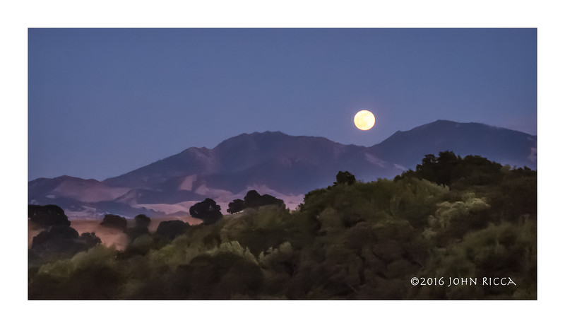 Moonrise Over Mt  Diablo