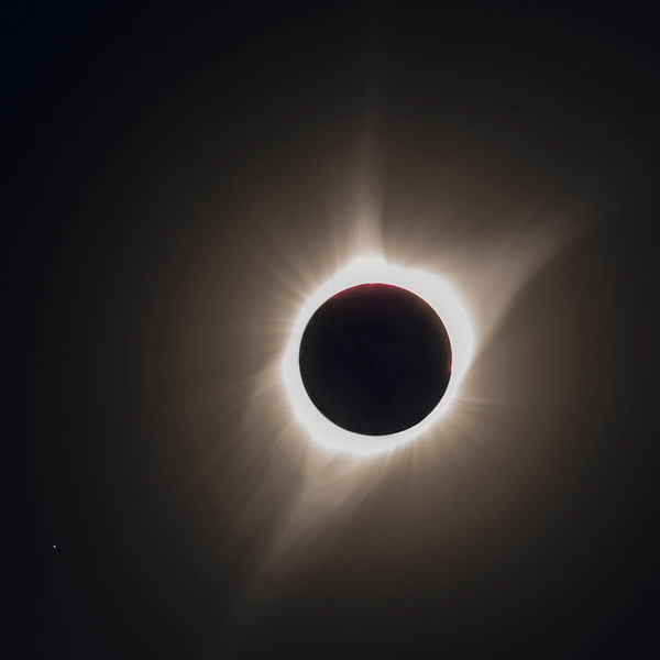 This is a composite of two images of Totality.  Again, Regulus in the lower left corner.  This helps show some of the detail in the corona.