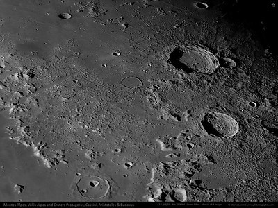 Montes and Vallis Alpes and Craters Protagoras, Cassini, Aristoteles & Eudoxus